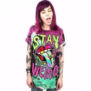 "Tops - ""Stay Weird"" Tye-Dye Tee Shirt"